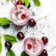 Pink cherry milkshake with berry and chia seeds - PhotoDune Item for Sale