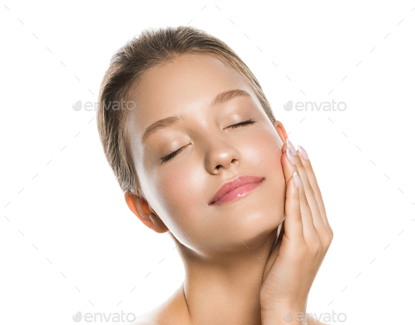 Skin care woman beauty natural make up - Stock Photo - Images