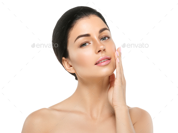 Woman beautiful cosmetic clean skin natural make up pure face happy smile - Stock Photo - Images
