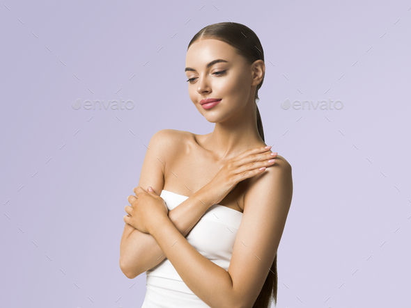 Beauty model healthy skin beautiful body hands manicure nails natural make up woman cosmetic concept - Stock Photo - Images