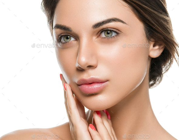 Natural fresh clean skin woman beauty - Stock Photo - Images