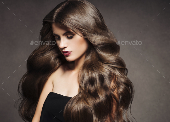 Beautiful hair brunette  woman healthy skin fashion make up natural hairstyle - Stock Photo - Images