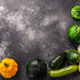 Summer squashes on textured concrete backdrop with copyspace,  top view - PhotoDune Item for Sale
