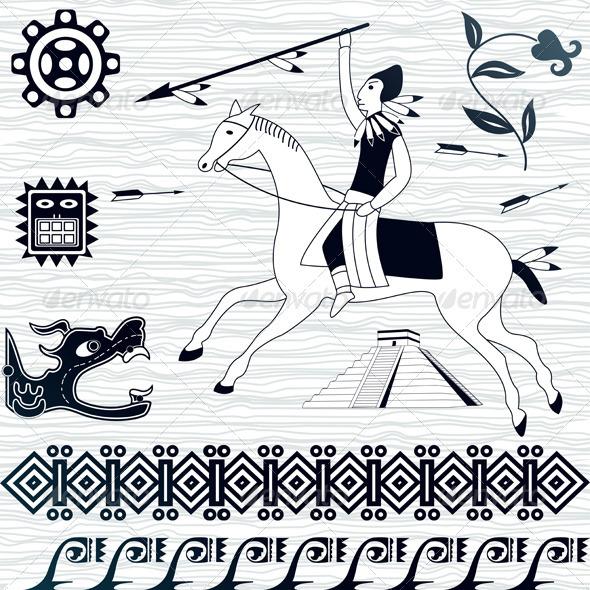 American patterns and horseman - Decorative Symbols Decorative