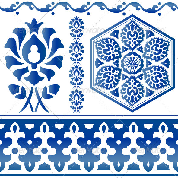 Blue Islamic design elements - Decorative Symbols Decorative