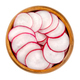Sliced red radishes in a wooden bowl - PhotoDune Item for Sale