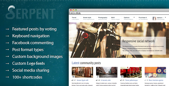 Serpent – Responsive Social Network Theme