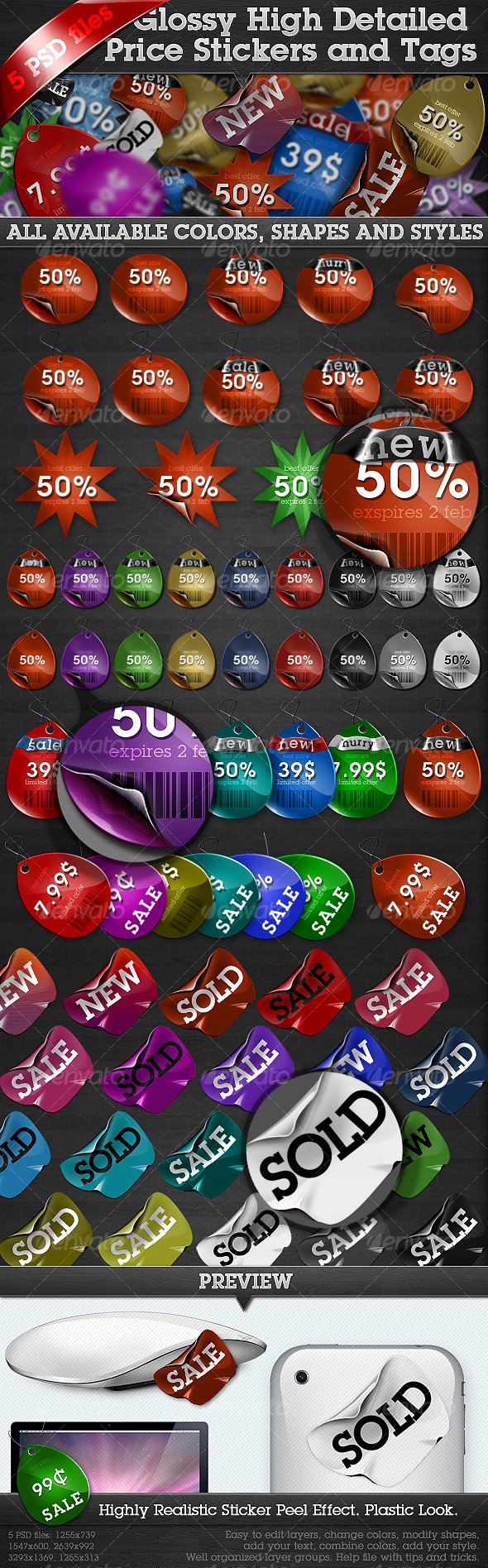 Glossy High Detailed Price Stickers and Tags - Miscellaneous Web Elements