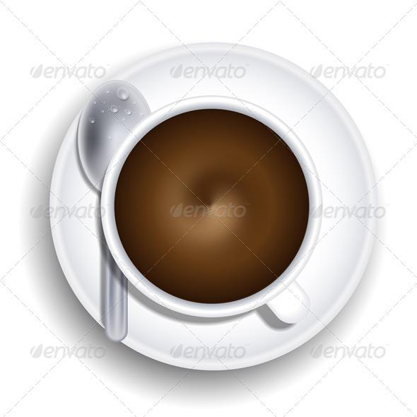 Vector a cup of coffee with spoon - Backgrounds Business