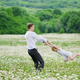 Happy father play with daughter in camomile meadow - PhotoDune Item for Sale