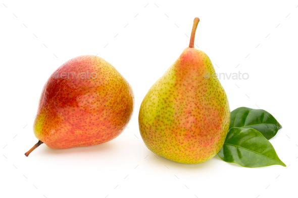 Fresh bio pear with leaves on isolated white background. - Stock Photo - Images