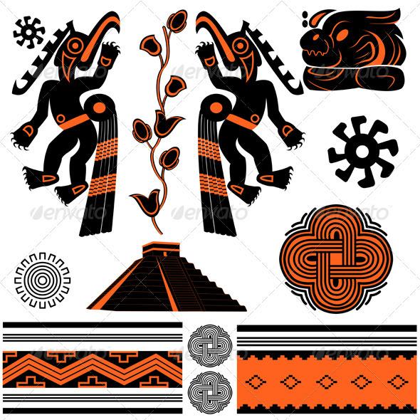 American ornaments and pyramid - Decorative Symbols Decorative
