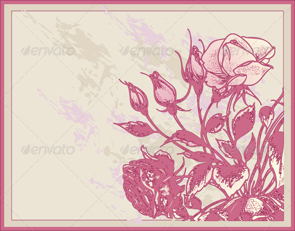 Vintage Card with Roses - Backgrounds Decorative