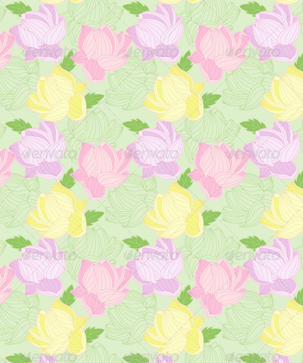 Seamless Pattern with Colored  Lotus - Patterns Decorative