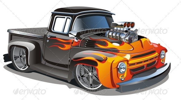 Vector Cartoon Hotrod - Man-made Objects Objects
