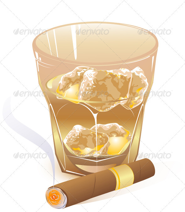Glass of Whiskey and  Cigar - Food Objects