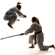 Two women athletes training karate in jumping - PhotoDune Item for Sale
