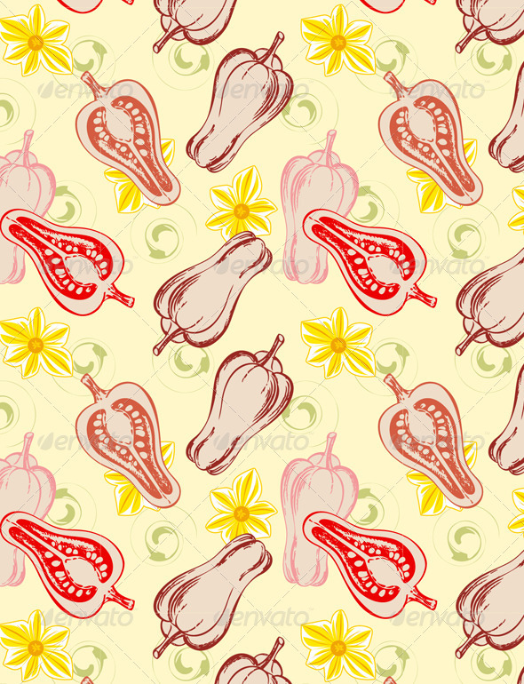Seamless Pattern with Red Hot Pepper - Patterns Decorative
