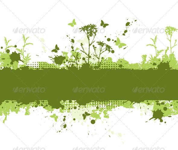 Green Grunge Background - Backgrounds Decorative