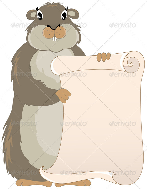 Groundhog with Scroll - Miscellaneous Seasons/Holidays