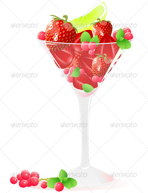 Glass of Berries and Fruits - Food Objects