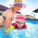2-3 years old child with mother in swimming pool learn to swim. Summer at home concept - PhotoDune Item for Sale