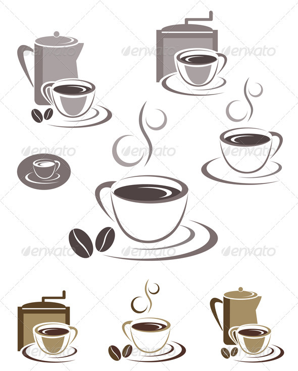 Coffee Cup Icons And Emblems Design Set - Food Objects