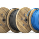 Wire electric cable of different colors on wooden coil or spool isolated on white background. - PhotoDune Item for Sale