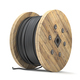 Black wire electric cable on wooden coil or spool isolated on white background. - PhotoDune Item for Sale