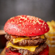 Homemade red sesame bun double bacon cheese burger. Served with french fries on wooden board - PhotoDune Item for Sale