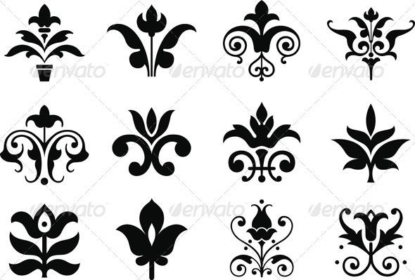 Flower Icons - Decorative Symbols Decorative