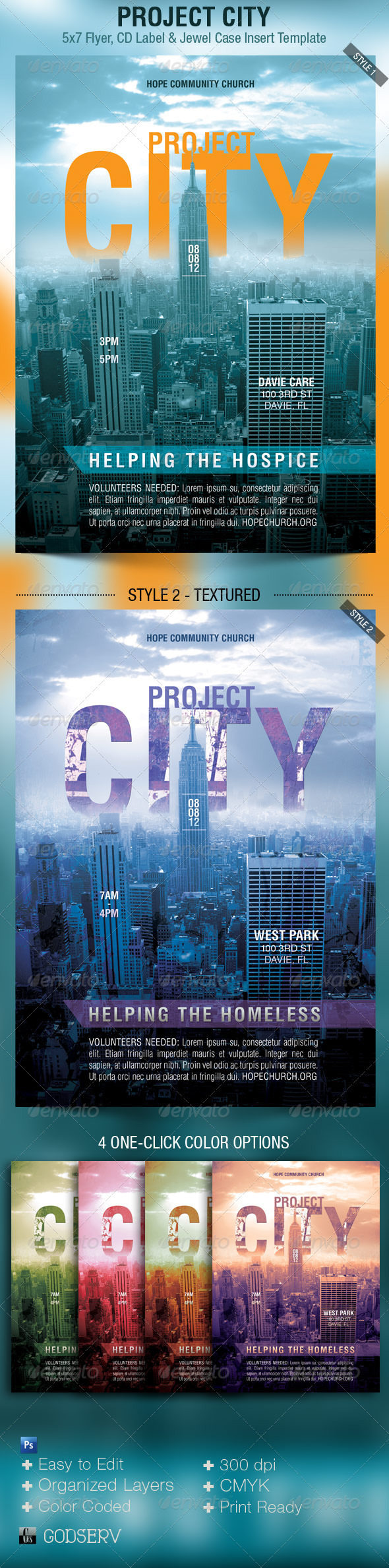 Project City Church Charity Flyer Template - Church Flyers