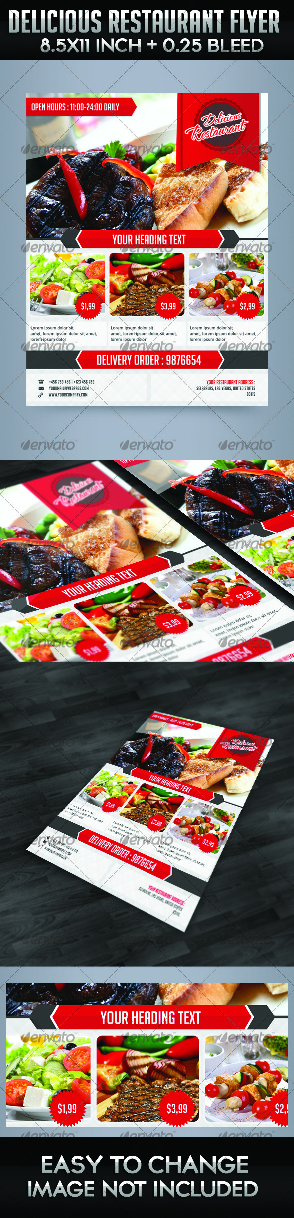 Delicious Restaurant Flyer Template - Restaurant Flyers