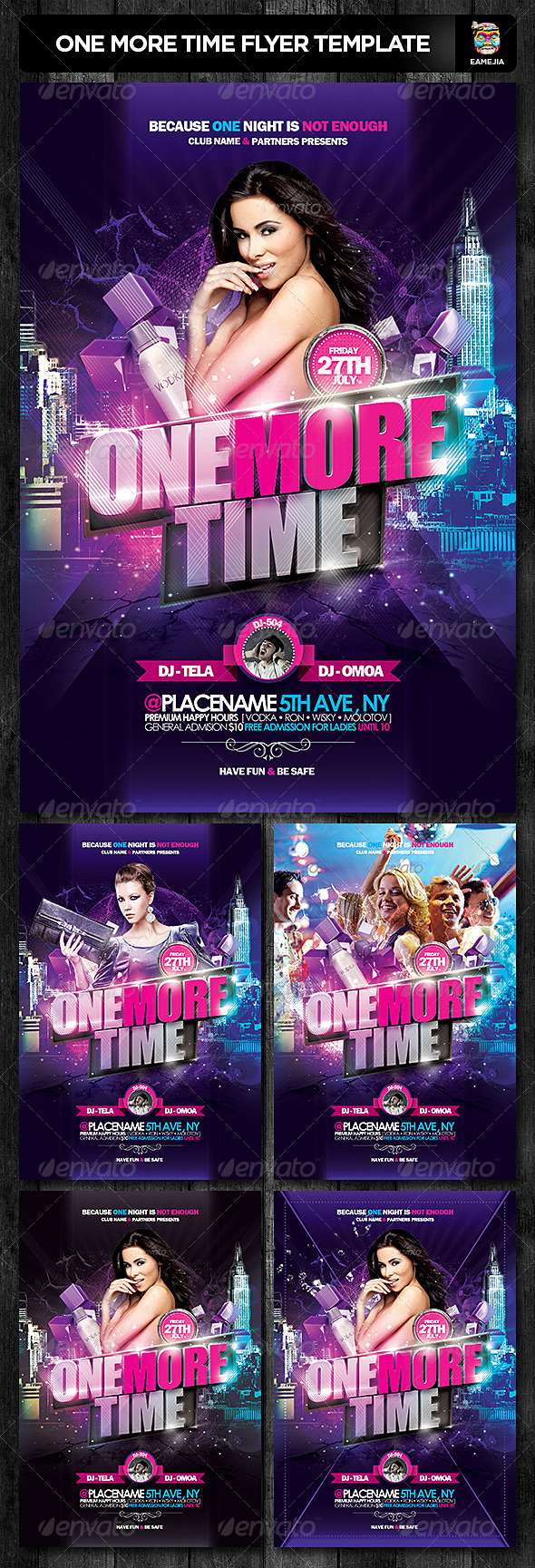 One More Time Flyer Template - Clubs & Parties Events