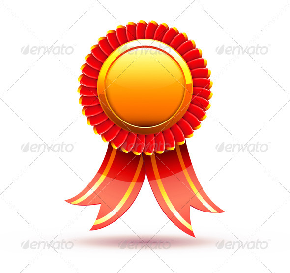 Red badge and ribbon - Decorative Vectors