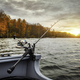 Fishing rod on the boat. Autumn season