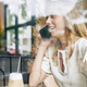 Positive woman talking on phone - PhotoDune Item for Sale
