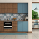 Modern blue and wooden kitchen - PhotoDune Item for Sale