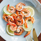 Fried tiger shrimp with lime, lemon and spices on a ceramic dish. Healthy dinner or lunch concept. - PhotoDune Item for Sale