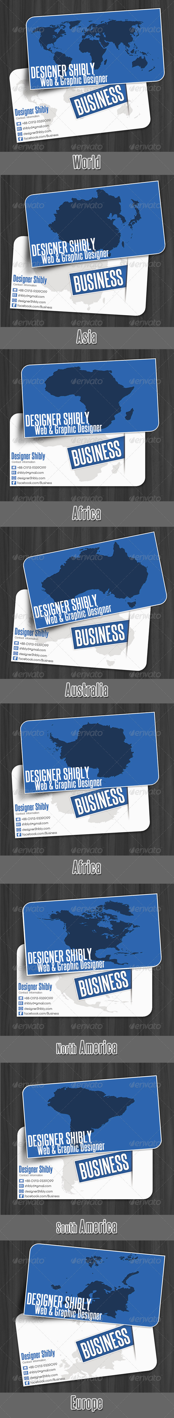 World Map Business Card - Corporate Business Cards