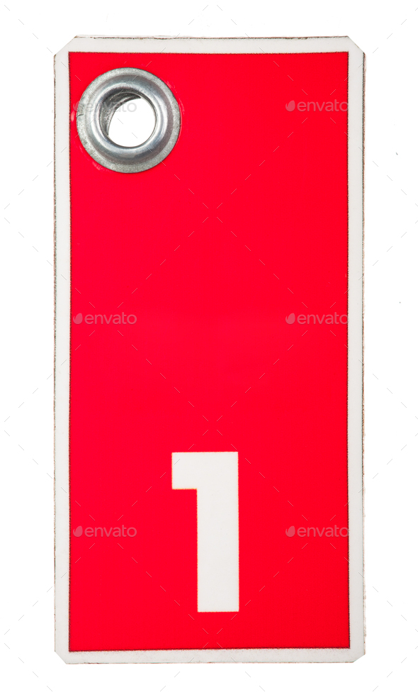 Red tag with number one - Stock Photo - Images