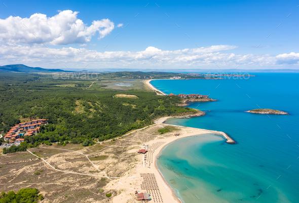 panoramic view of picturesque coastline - Stock Photo - Images