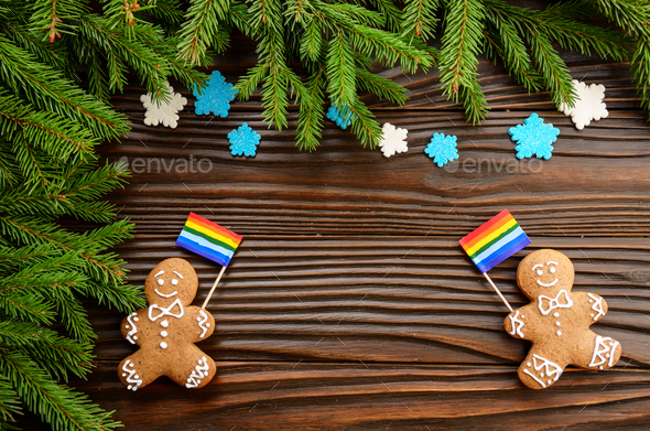 gingerbread men with lgbt flag - Stock Photo - Images