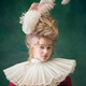 Young woman as Marie Antoinette on dark background. Retro style, comparison of eras concept - PhotoDune Item for Sale