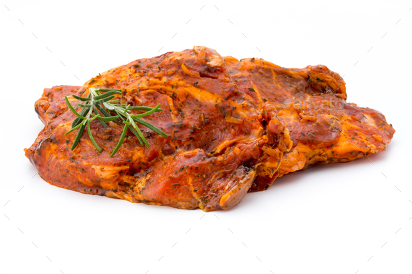 Pork chop, marinated. Isolated on the white background. - Stock Photo - Images