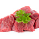 fresh meat on slice on the white background. - PhotoDune Item for Sale