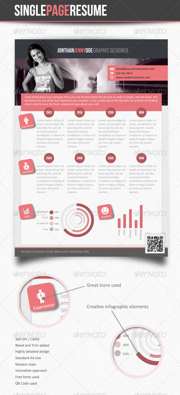 Smart Clean Single Page Resume - Resumes Stationery