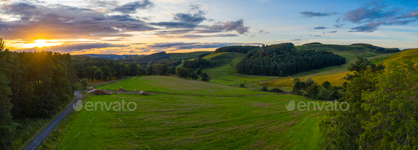 Panorama Sunset In Rural Scotland - Stock Photo - Images
