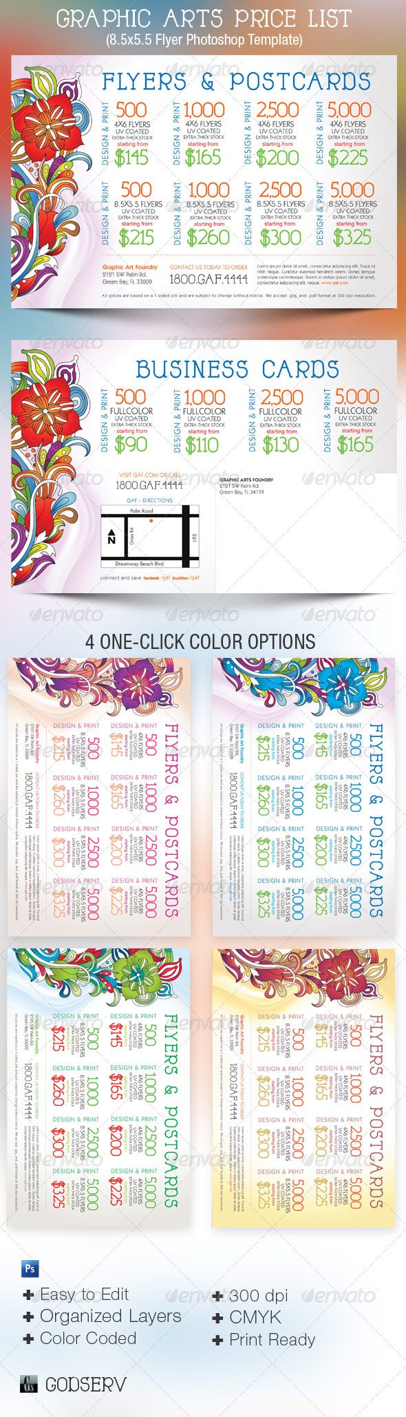 Graphic Arts Price List Flyer Postcard Template - Commerce Flyers