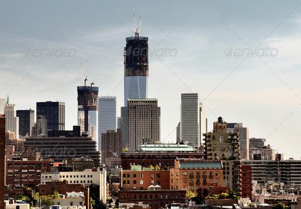 Lower Manhattan Skyline - Stock Photo - Images